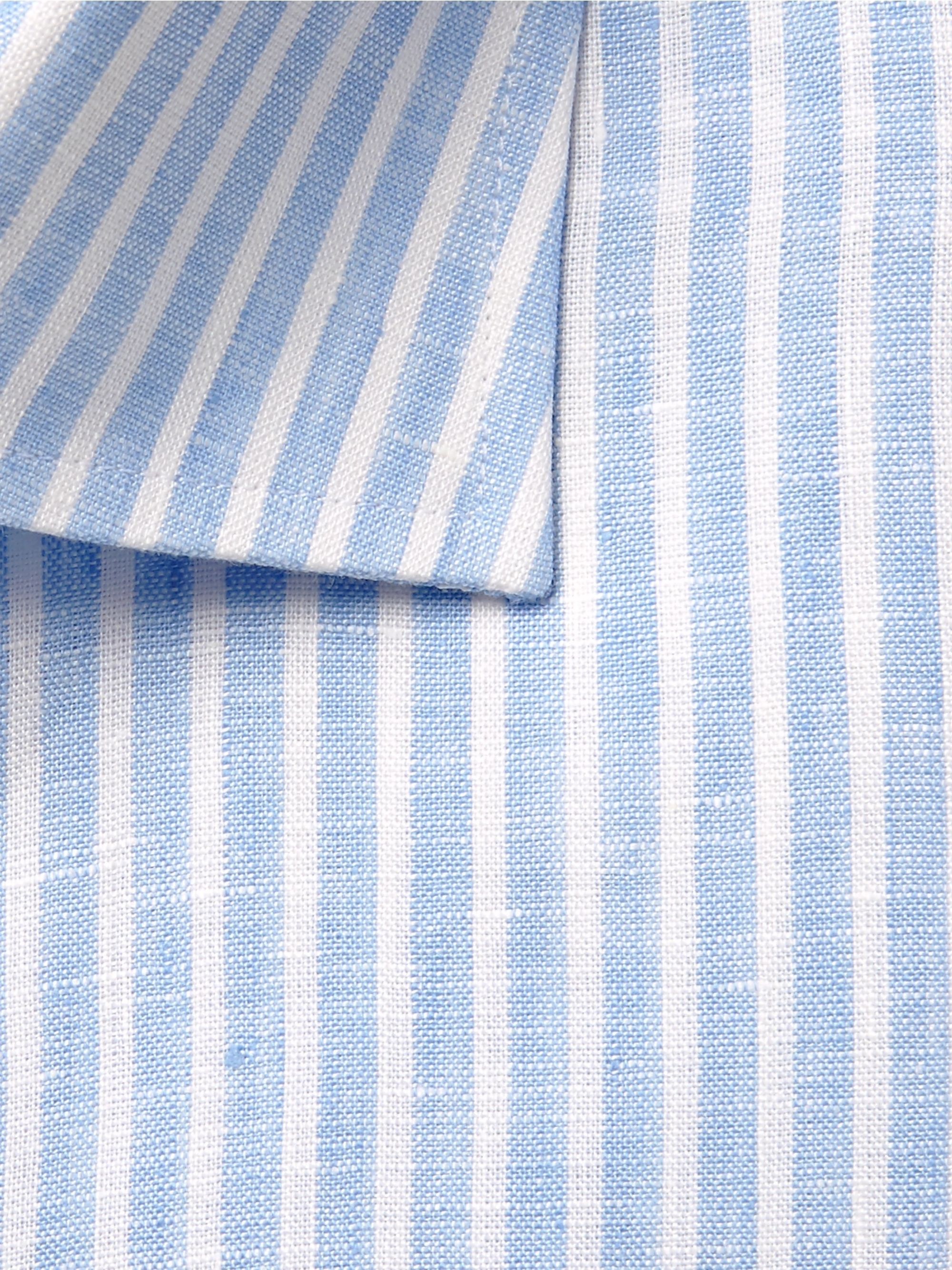 Canali Light-Blue Slim-Fit Pinstriped Linen Shirt