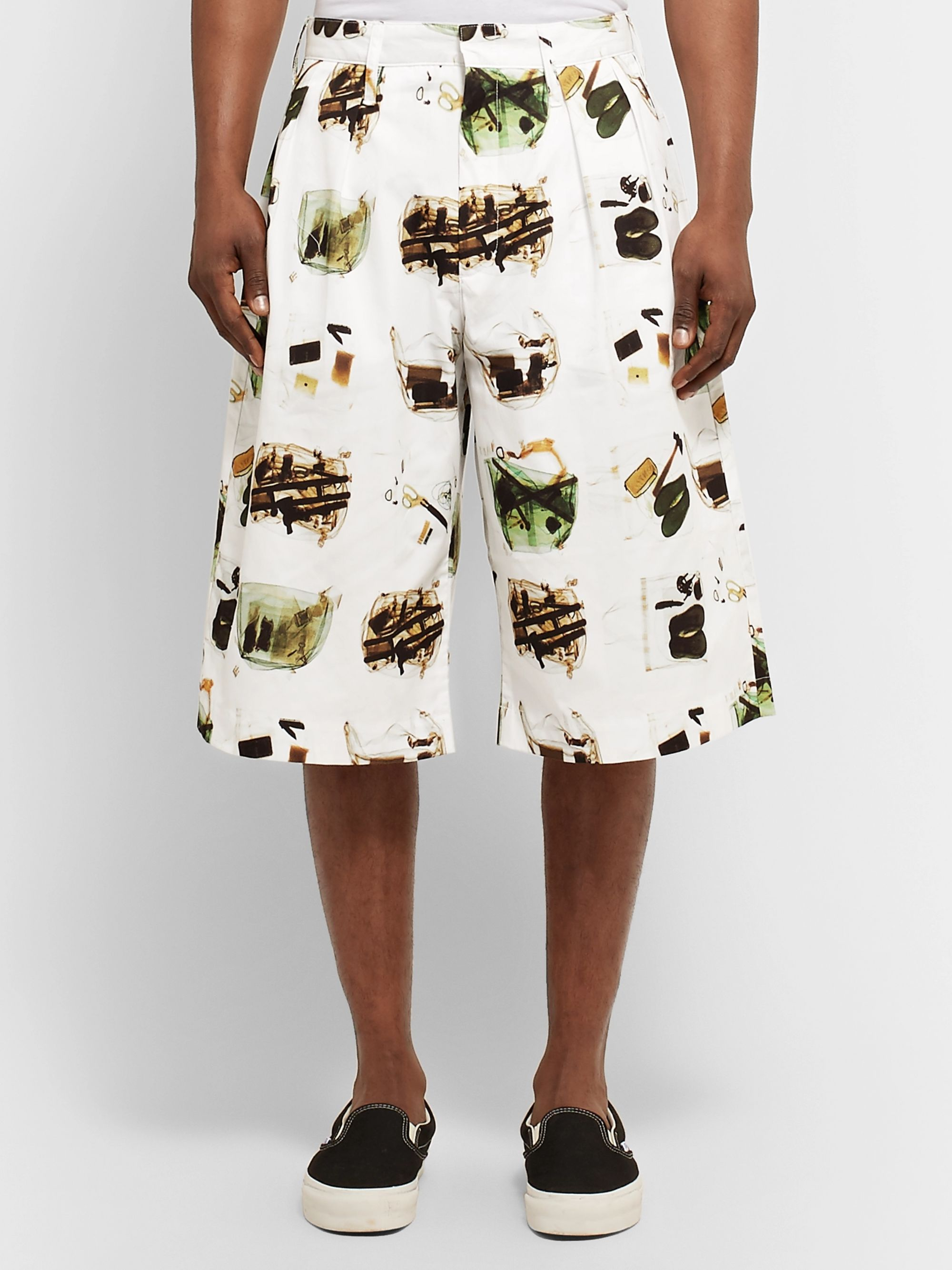 Flagstuff Wide-Leg Printed Cotton Shorts