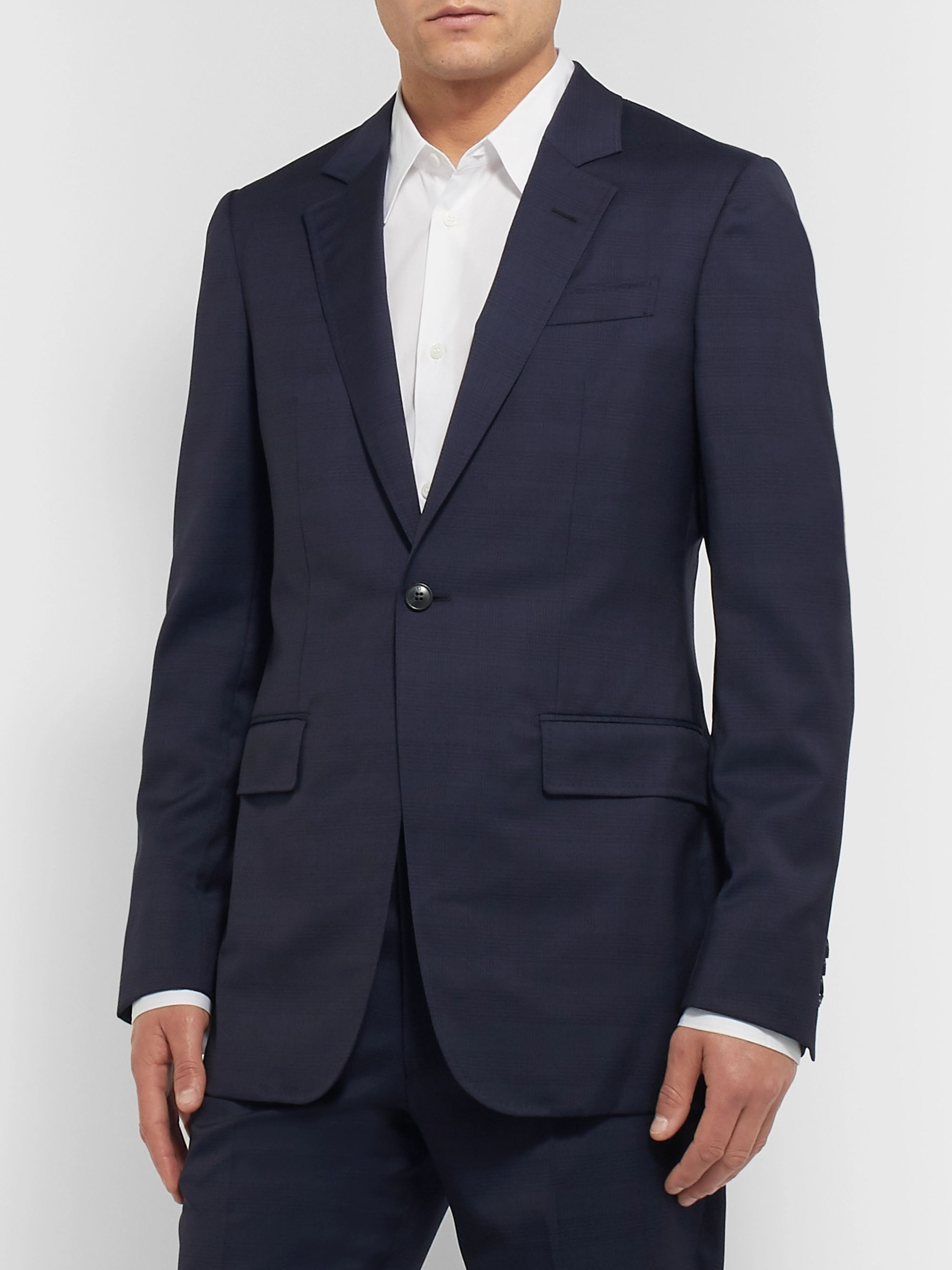 Gabriela Hearst Navy Damien Slim-Fit Checked Wool Suit Jacket