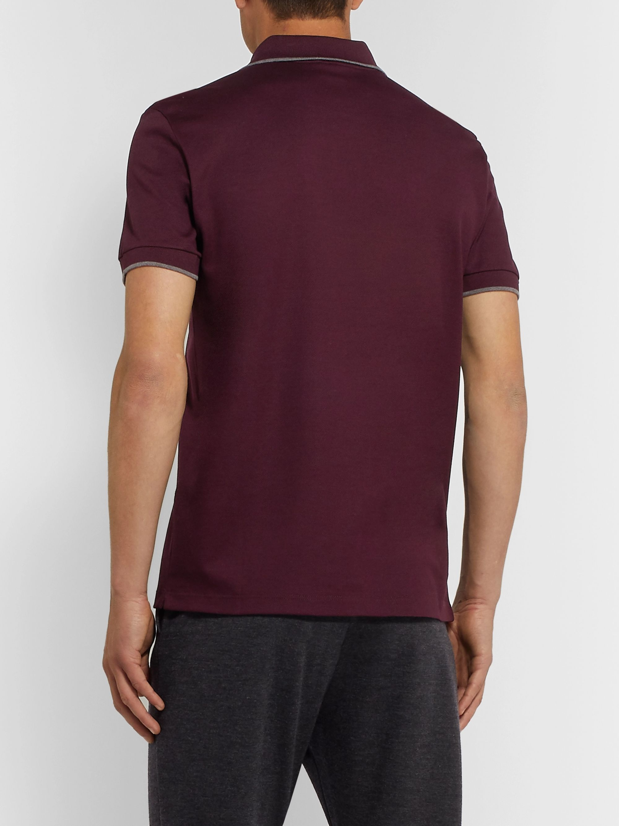 Berluti Slim-Fit Contrast-Tipped Cotton-Piqué Polo Shirt