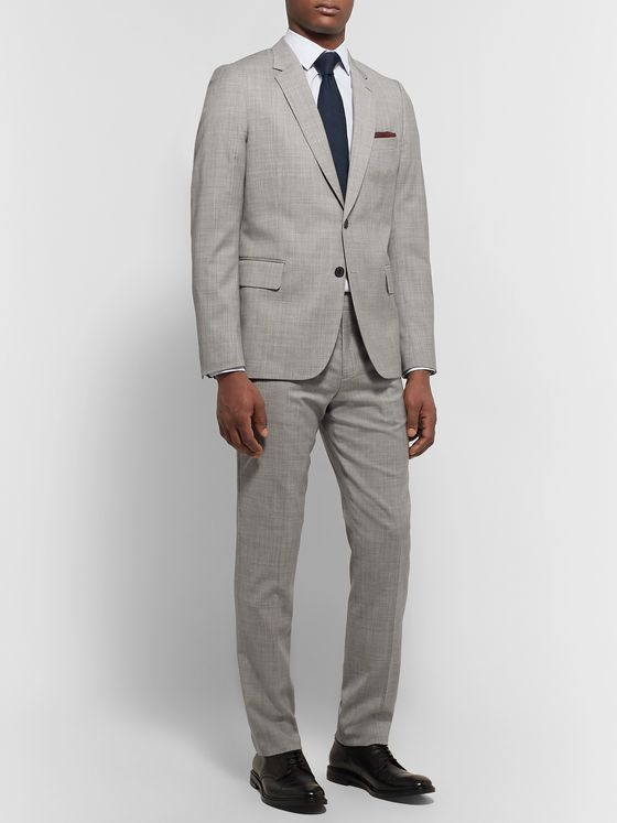 Paul Smith Light-Grey Soho Slim-Fit Mélange Wool Suit Jacket