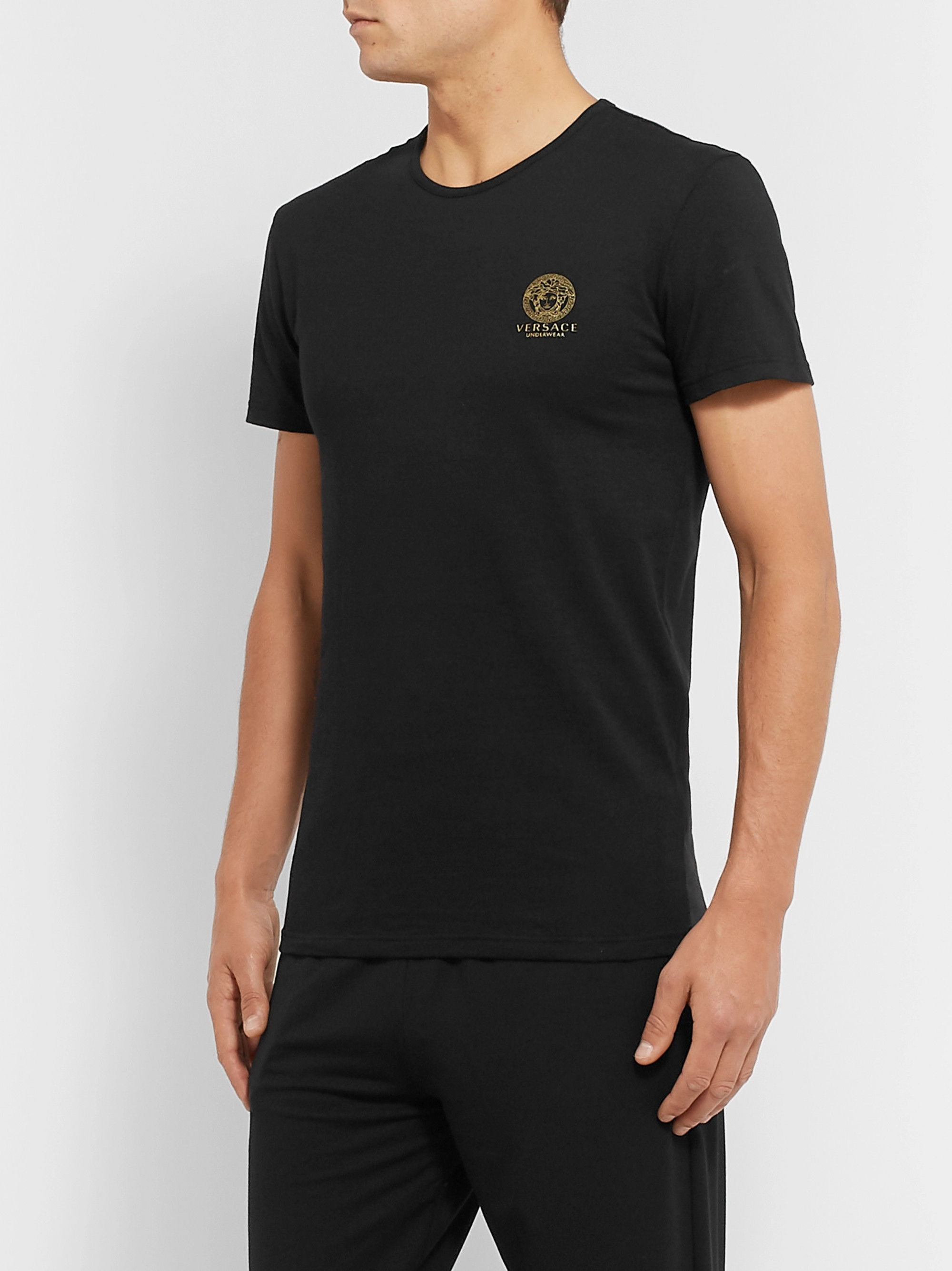 Versace Two-Pack Logo-Print Stretch-Cotton Jersey T-Shirts