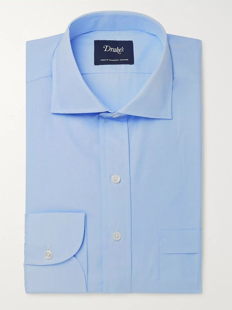 Drake's Light-Blue Cutaway-Collar End-on-End Cotton Shirt