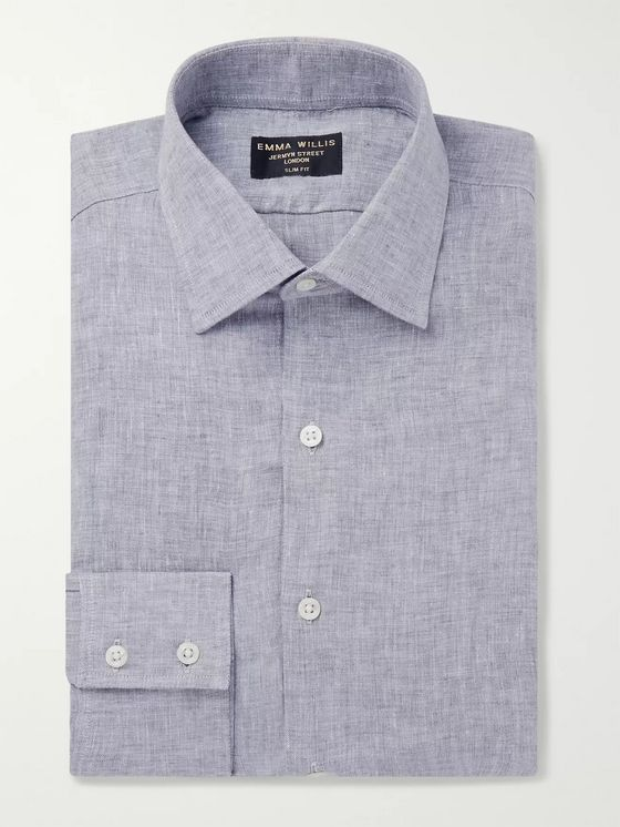 Emma Willis Grey Slim-Fit Mélange Linen-Gauze Shirt