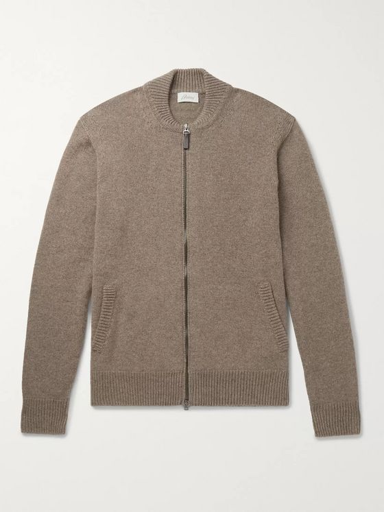 Brioni Leather-Trimmed Cashmere Zip-Up Cardigan
