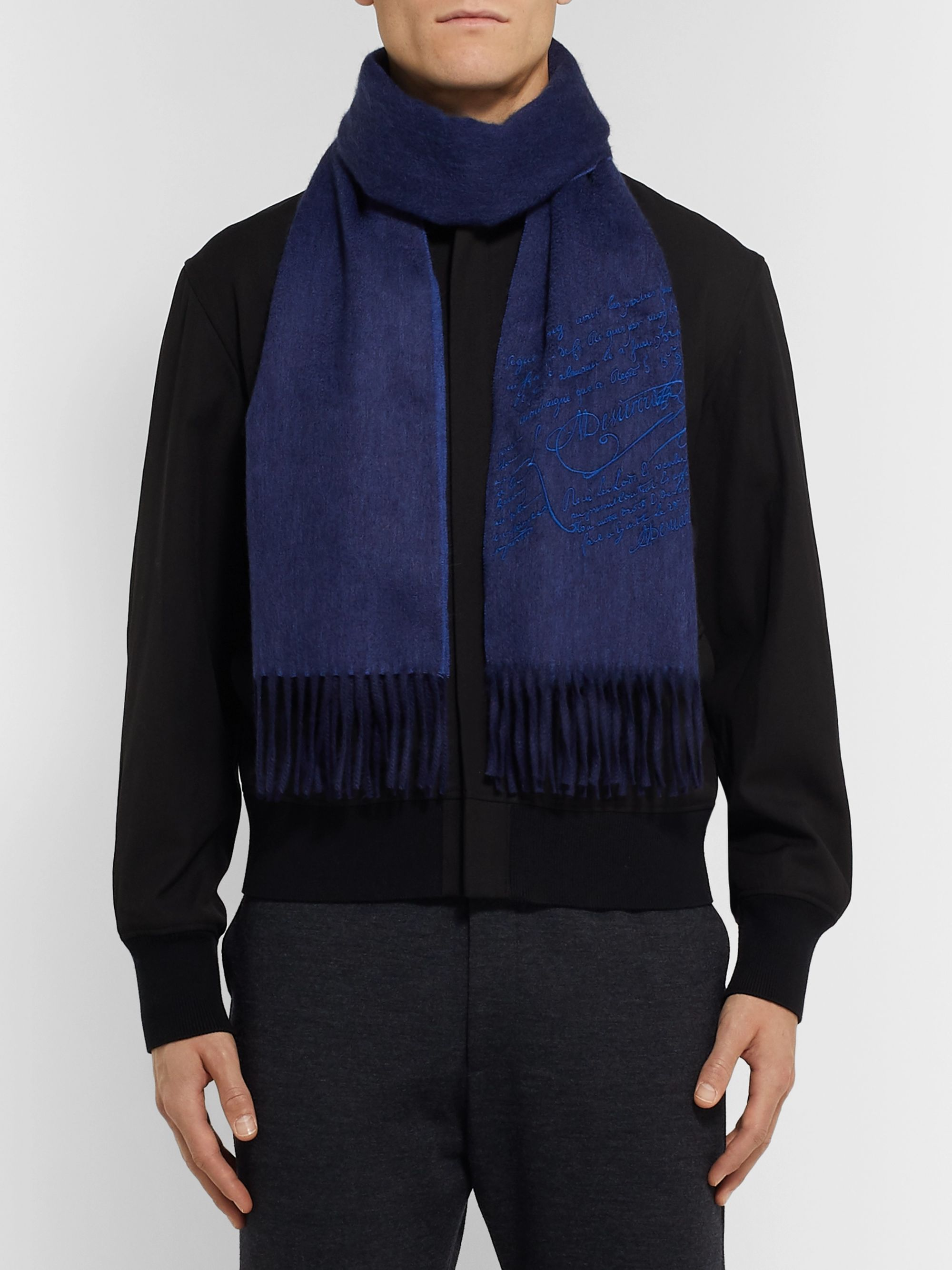 Berluti Embroidered Cashmere Scarf