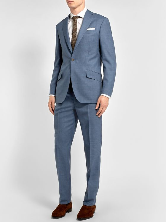 Richard James Blue Slim-Fit Wool Suit Trousers