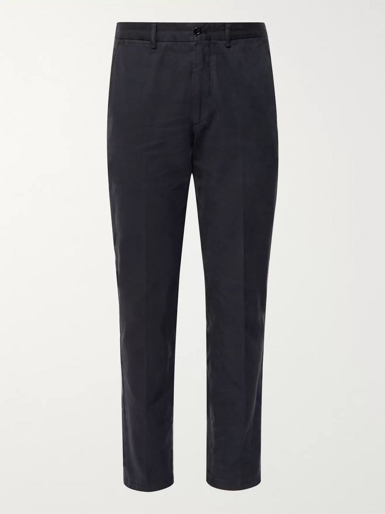 Rubinacci Navy Slim-Fit Cotton-Twill Trousers