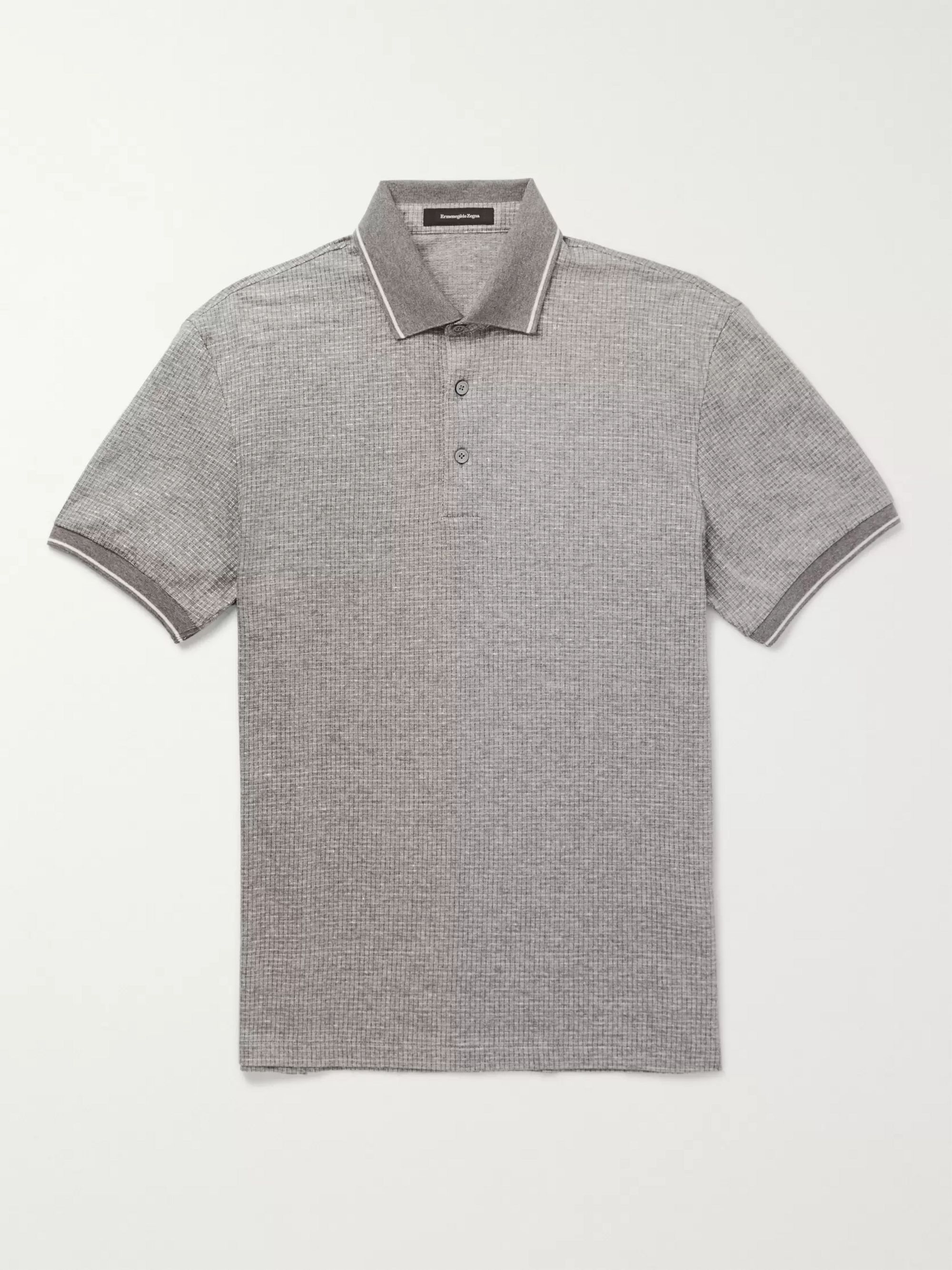 5e6e7c4355 Contrast-Tipped Cotton and Linen-Blend Polo Shirt