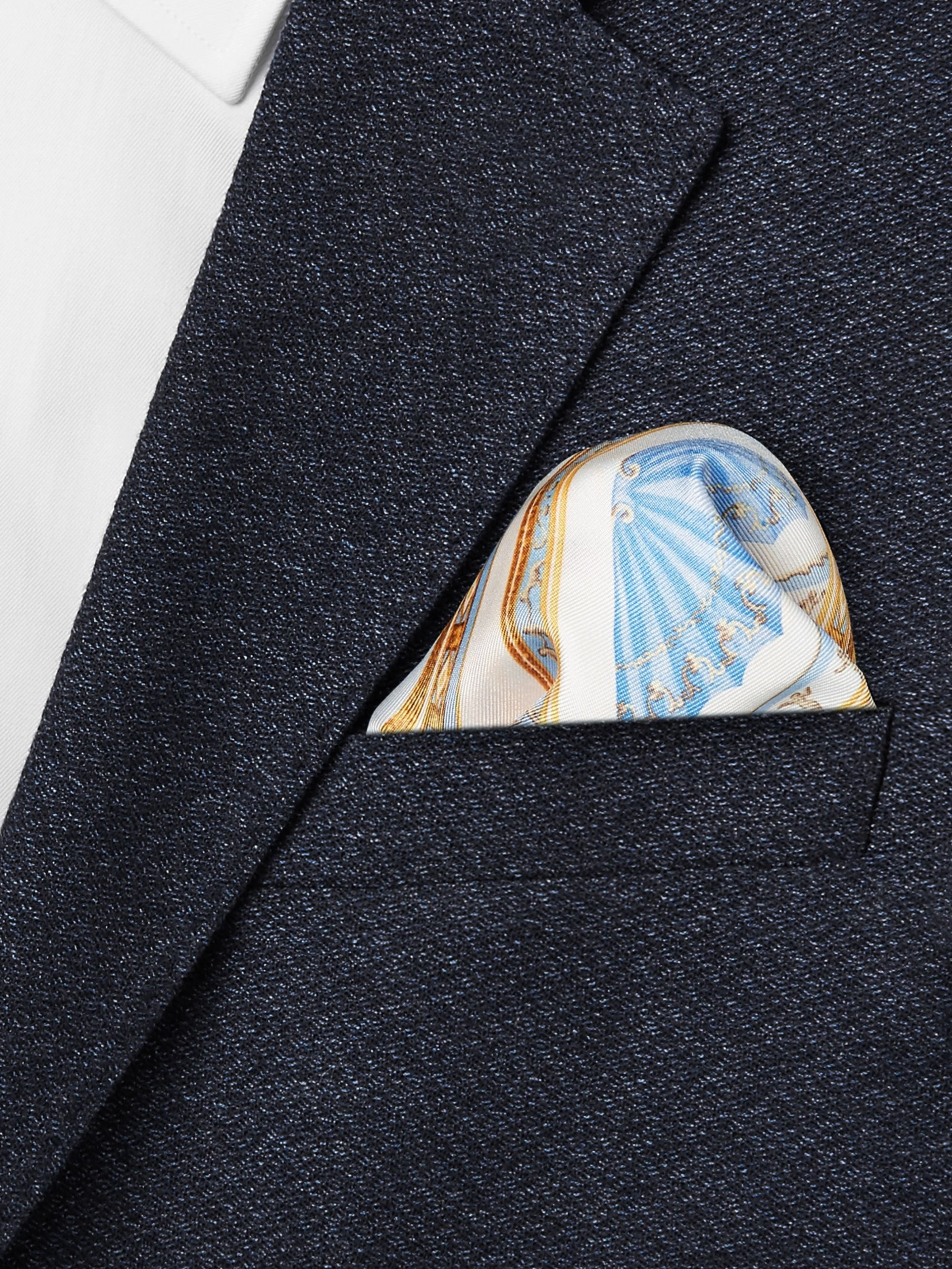 Rubinacci Printed Silk-Twill Pocket Square