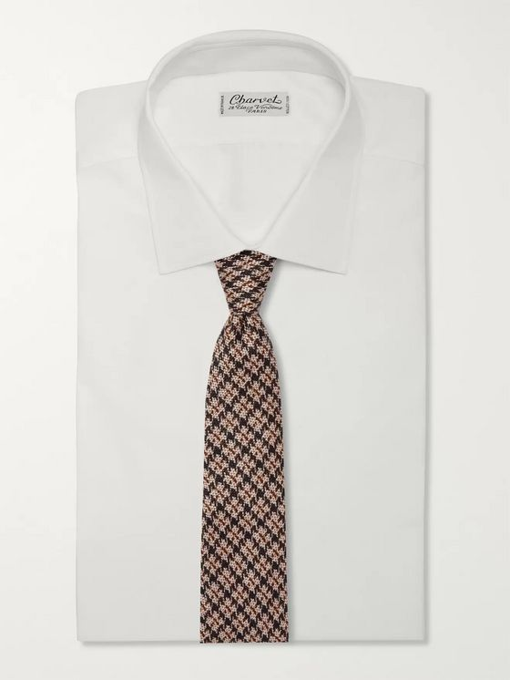 Rubinacci Puppytooth Cotton and Silk-Blend Jacquard Tie