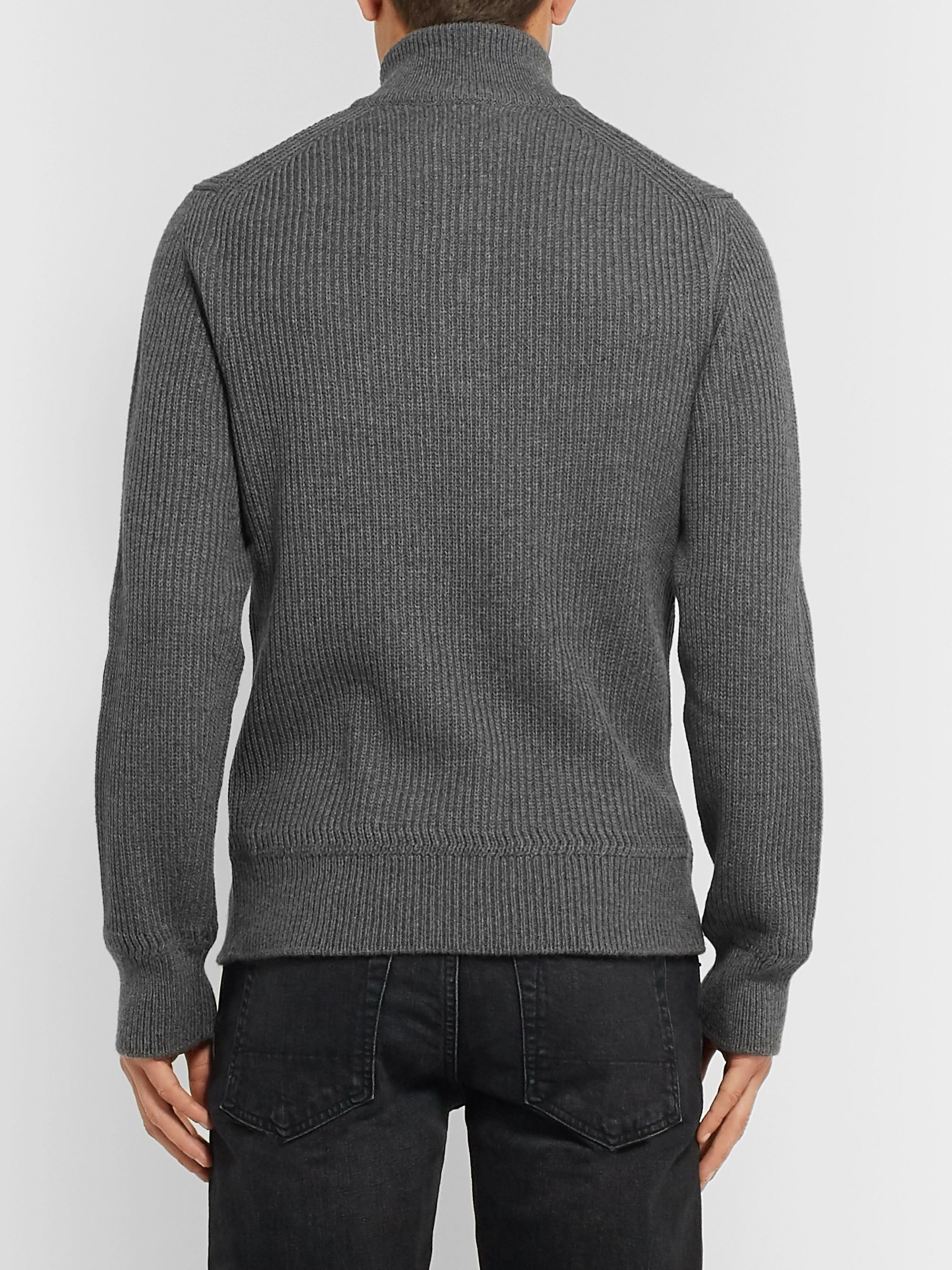 TOM FORD Ribbed Wool and Cashmere-Blend Half-Zip Sweater