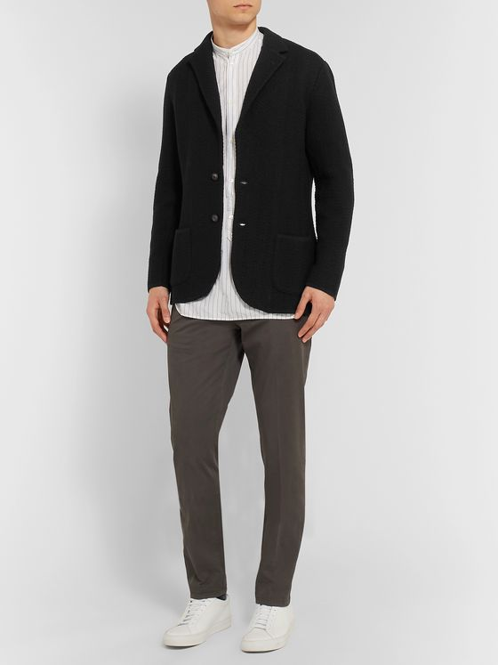 Lardini Slim-Fit Herringbone-Knit Wool Cardigan