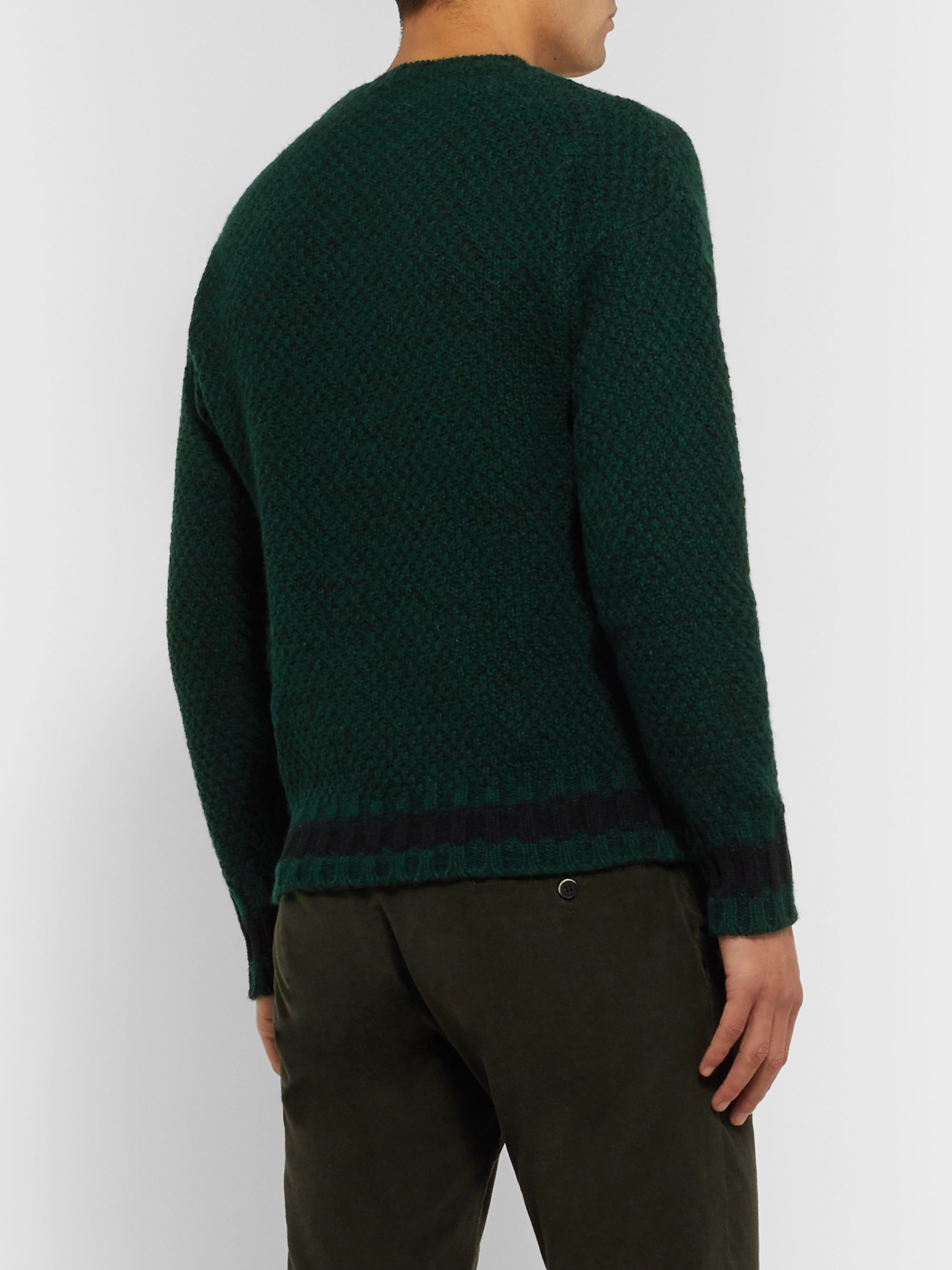 MP Massimo Piombo Slim-Fit Mélange Waffle-Knit Wool Sweater