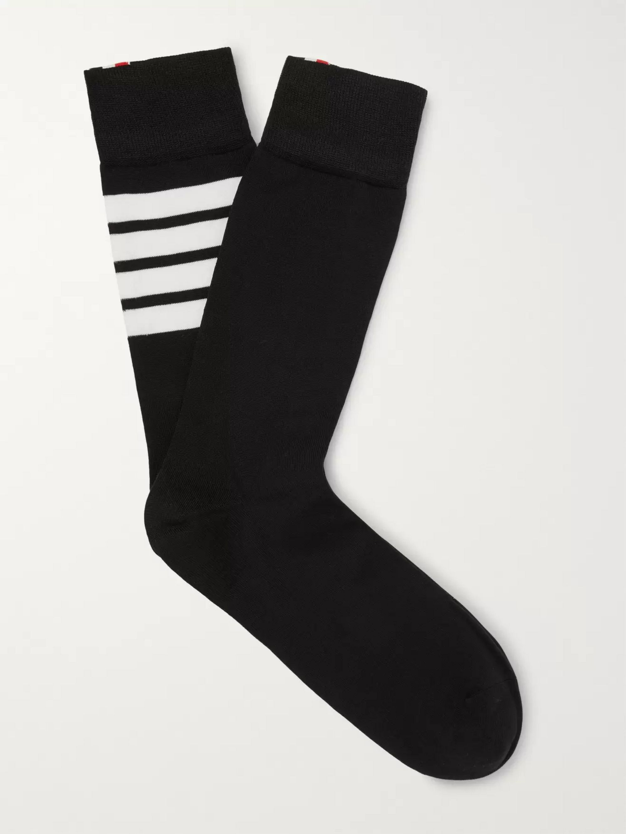 Thom Browne Striped Cotton-Blend Socks