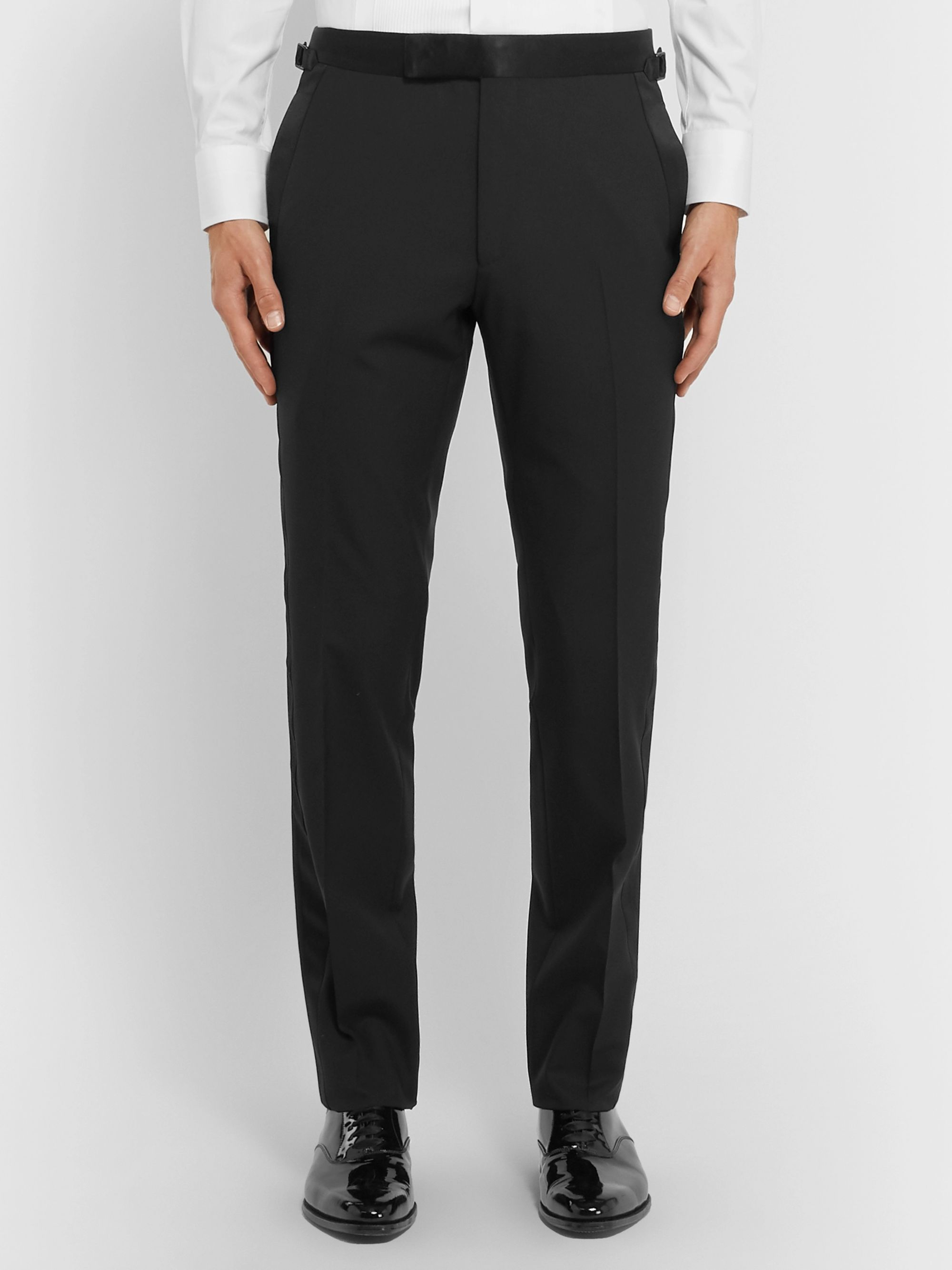 TOM FORD Black Shelton Slim-Fit Satin-Trimmed Wool Tuxedo Trousers