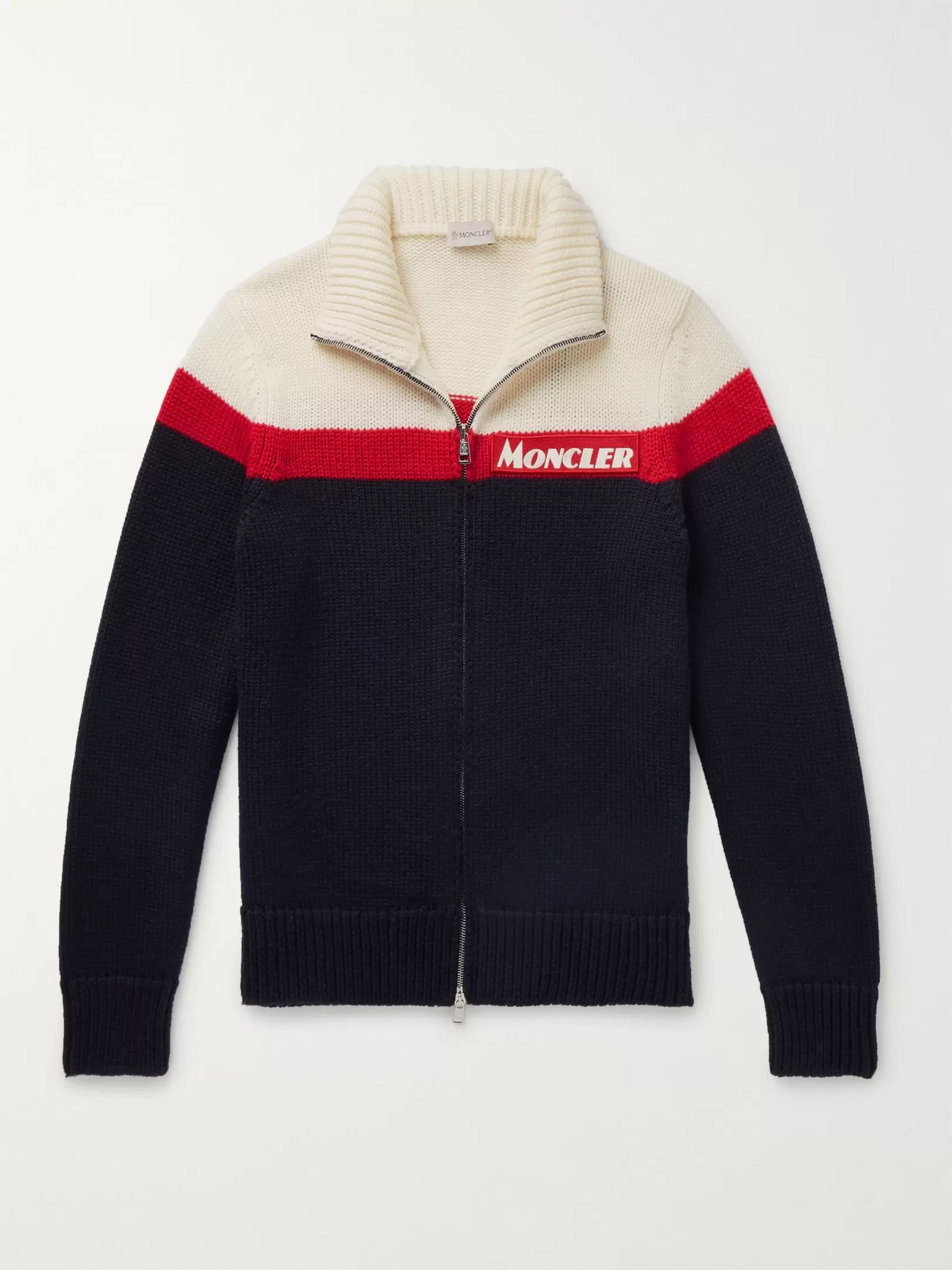 MONCLER Slim-Fit Colour-Block Virgin Wool Zip-Up Cardigan