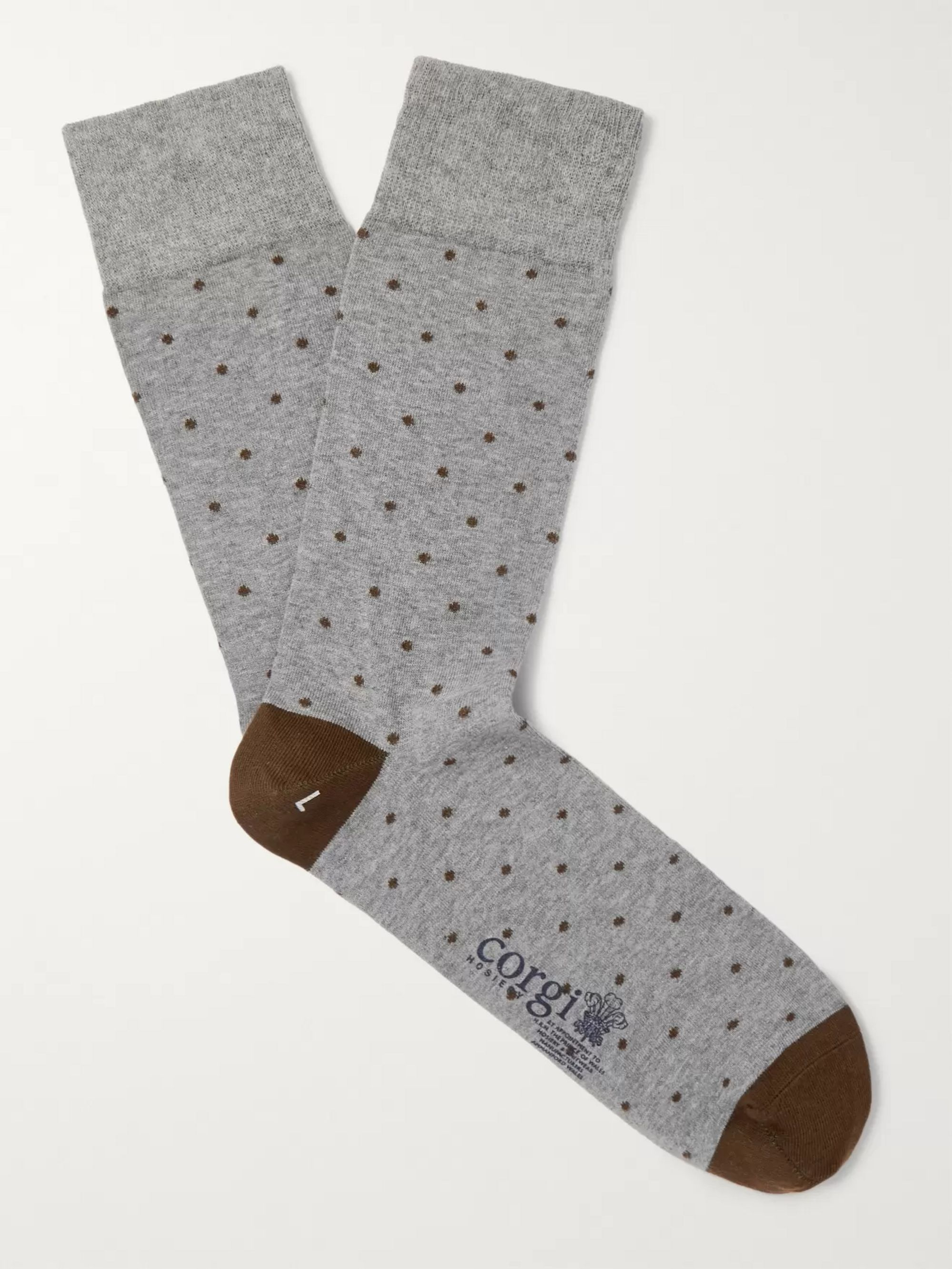Kingsman Polka-Dot Cotton-Blend Socks
