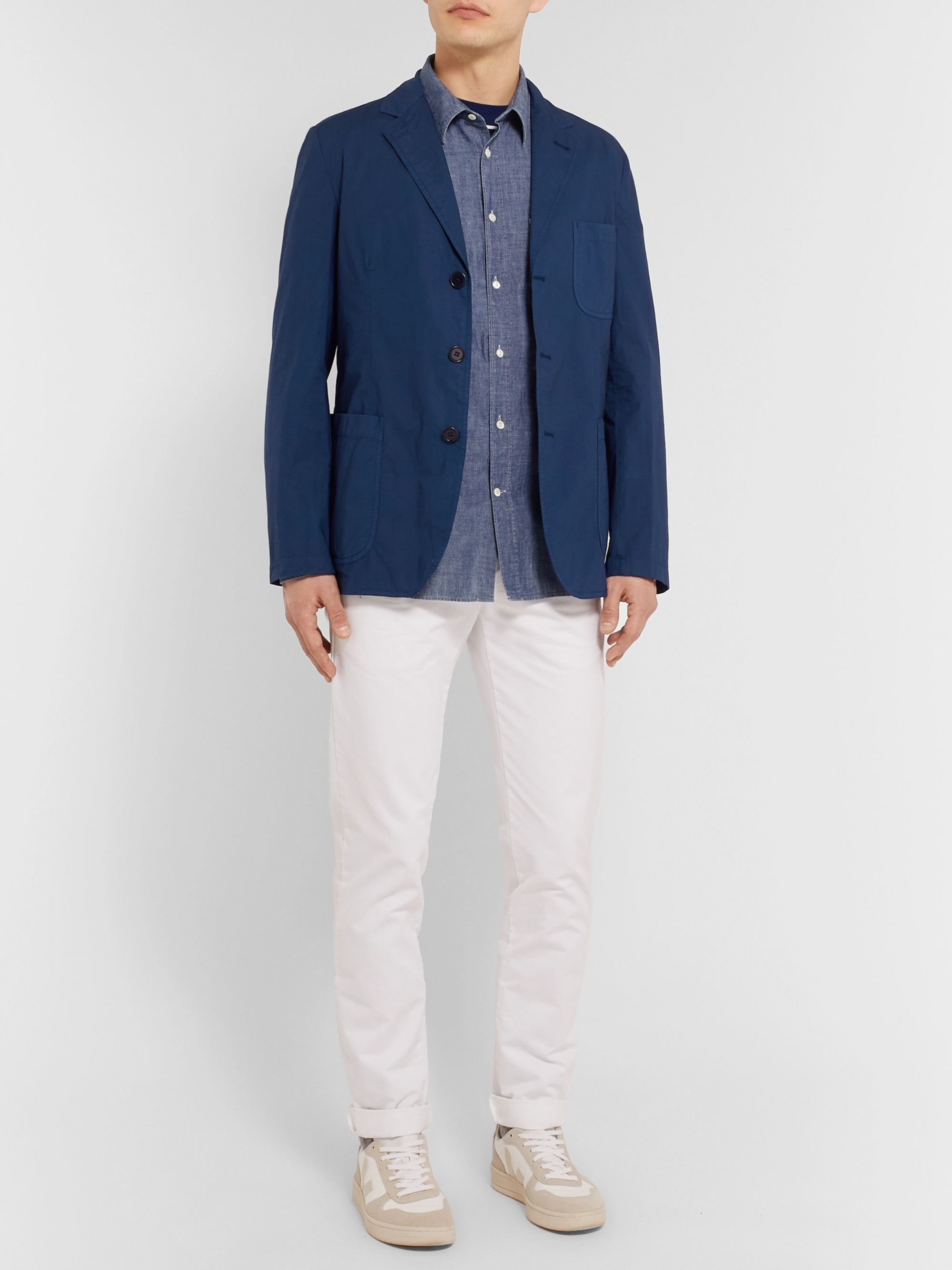 Aspesi Dark-Blue Slim-Fit Unstructured Garment-Dyed Cotton Blazer