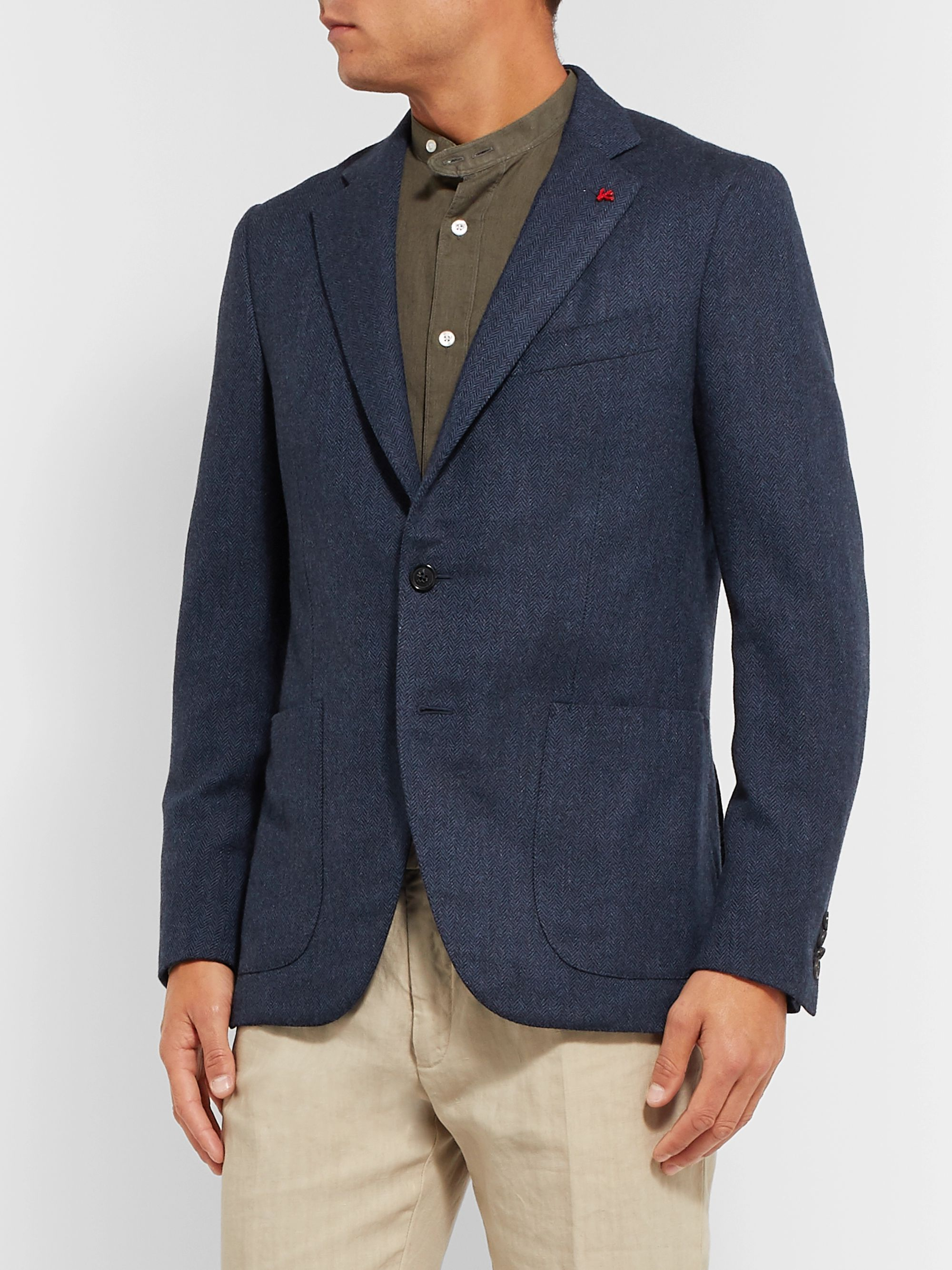 Isaia Navy Slim-Fit Herringbone Wool Suit Jacket