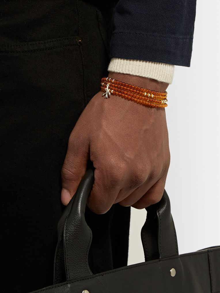 Isaia Silver and Amber Beaded Wrap Bracelet