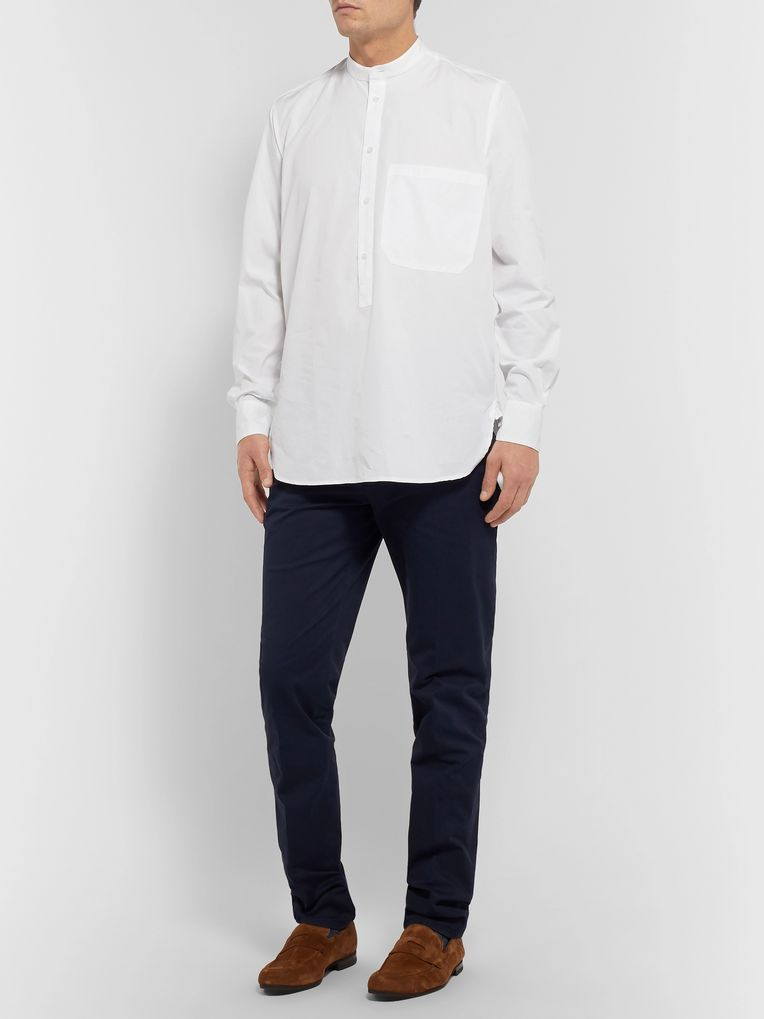 Barena Oversized Grandad-Collar Cotton-Poplin Half-Placket Shirt