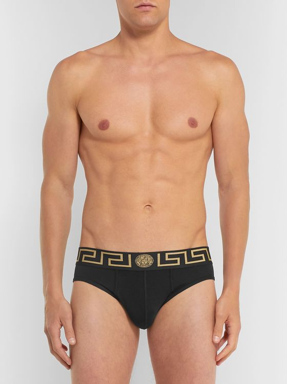 Versace Three-Pack Logo-Detailed Stretch-Cotton Briefs