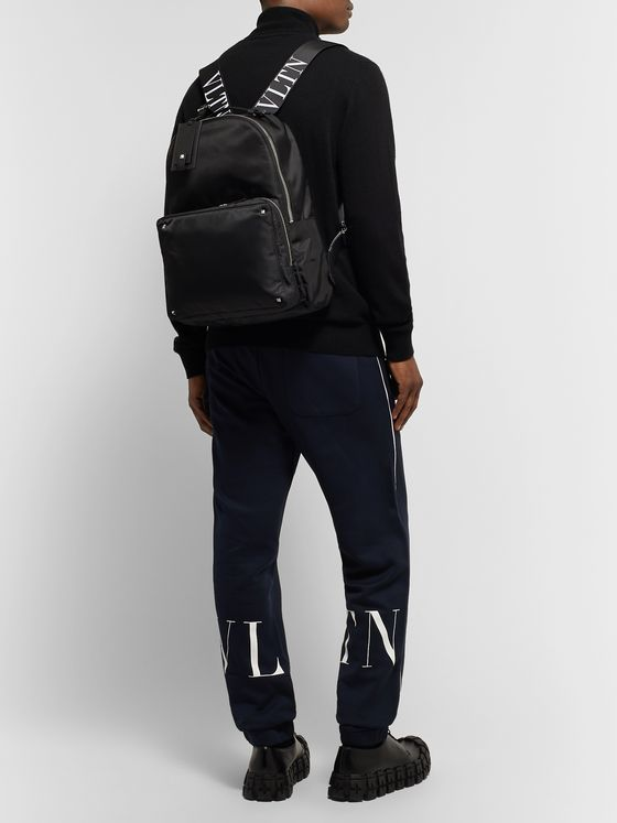 Valentino Valentino Garavani Leather-Trimmed Nylon Backpack