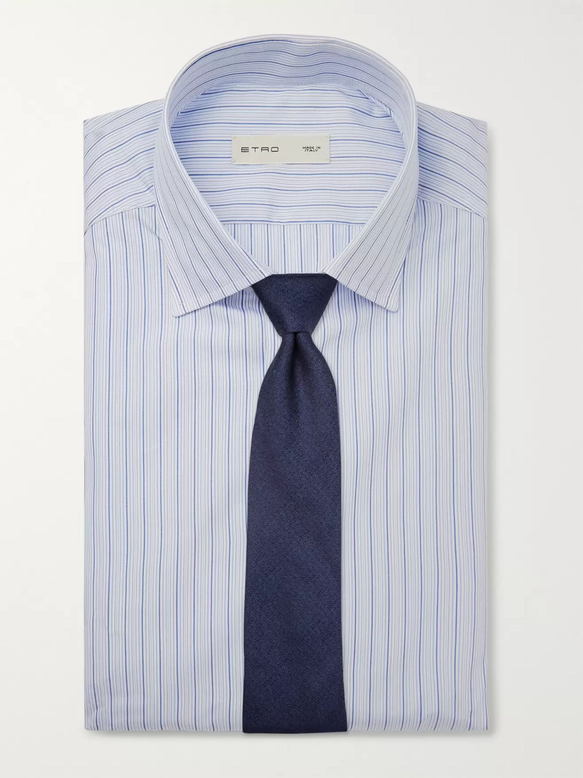 Etro Light-Blue Slim-Fit Striped Cotton-Poplin Shirt
