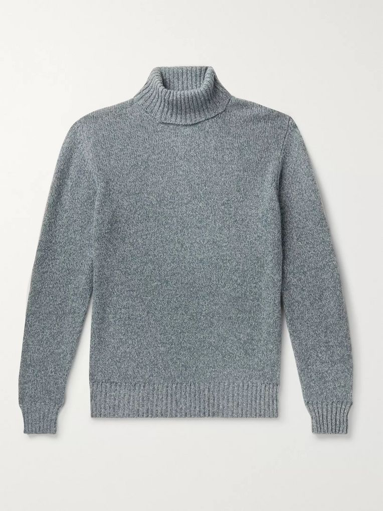 Loro Piana Slim-Fit Mélange Baby Cashmere Rollneck Sweater