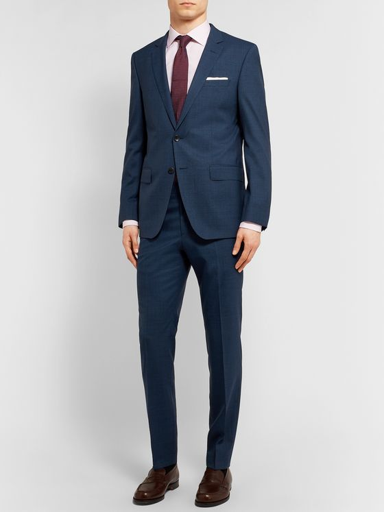 Hugo Boss Navy Huge/Genius Slim-Fit Puppytooth Virgin Wool Suit