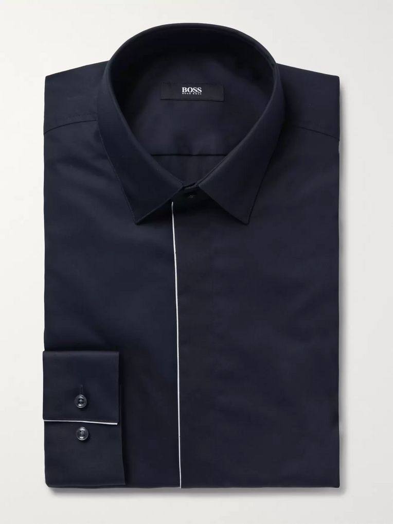 Hugo Boss Midnight-Blue Ivan Slim-Fit Piped Cotton-Poplin Tuxedo Shirt