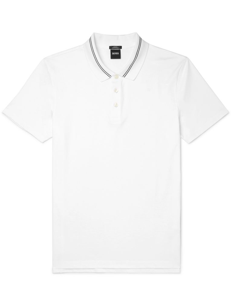 Hugo Boss Contrast-Tipped Cotton-Jersey Polo Shirt