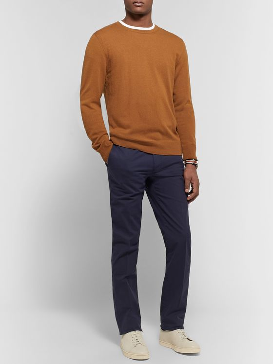 Canali Navy Stretch-Cotton Twill Chinos
