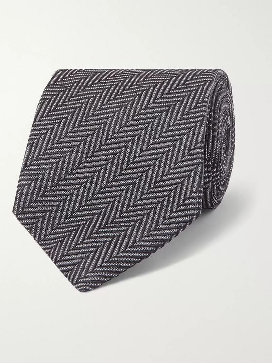 TOM FORD 8cm Herringbone Woven Silk and Cotton-Blend Tie