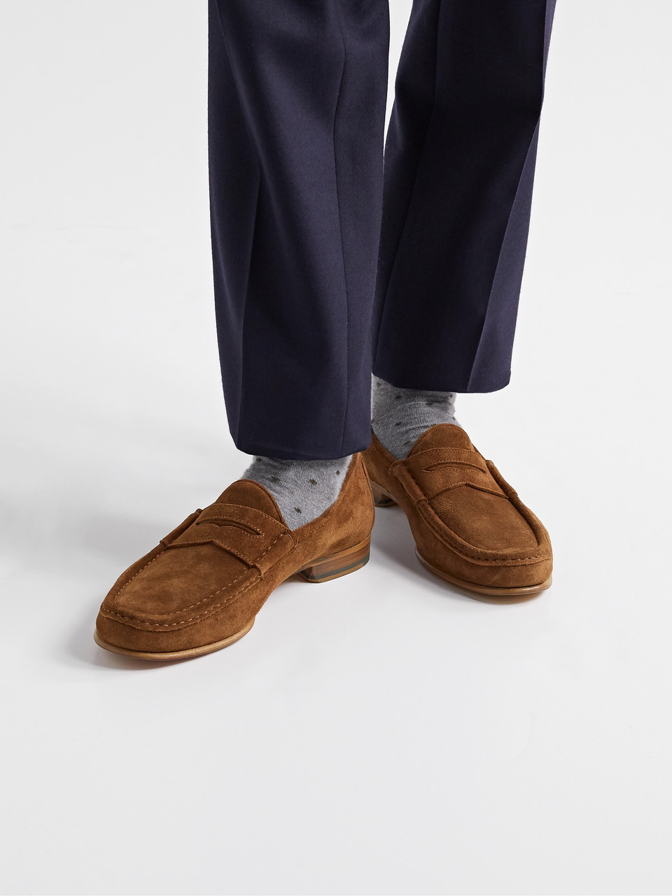 Yuketen Suede Penny Loafers