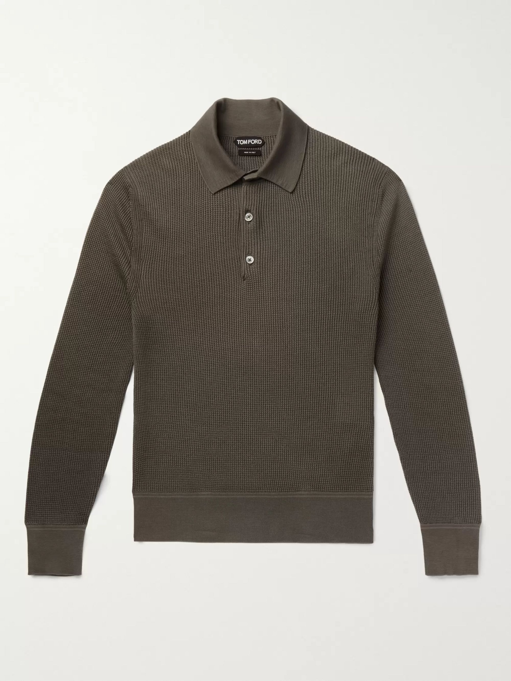 TOM FORD Slim-Fit Waffle-Knit Cotton-Blend Polo Shirt