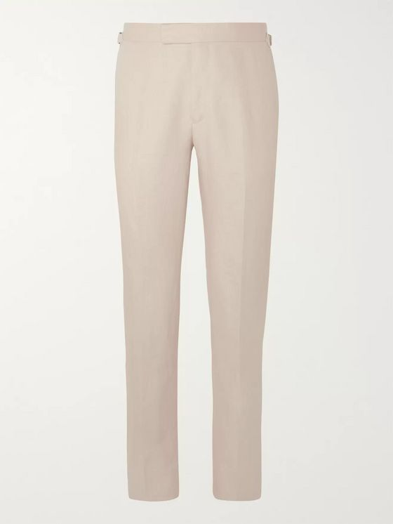 Kingsman Beige Slim-Fit Linen Suit Trousers