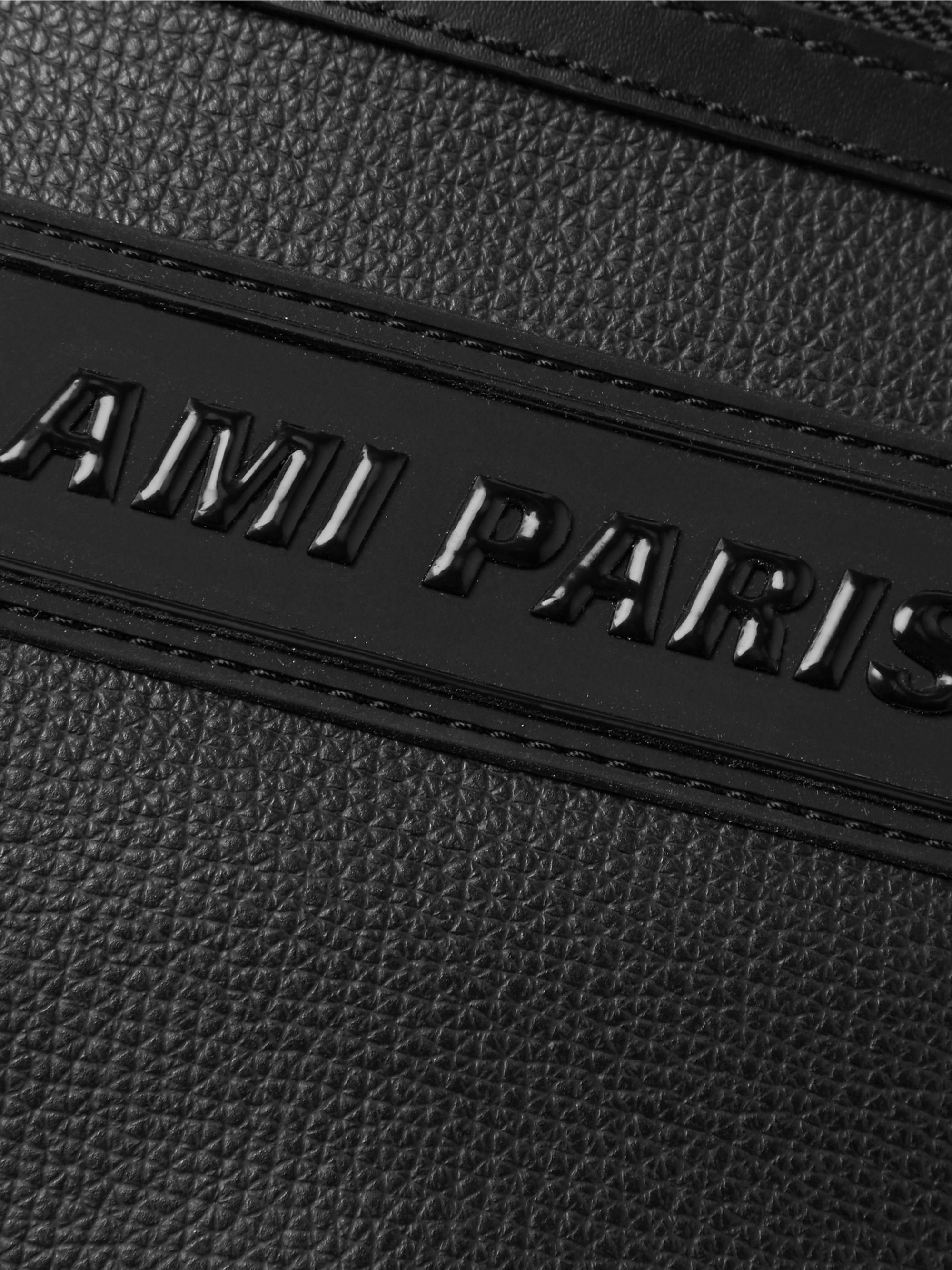 AMI Logo-Appliquéd Pebble-Grain Leather Belt Bag