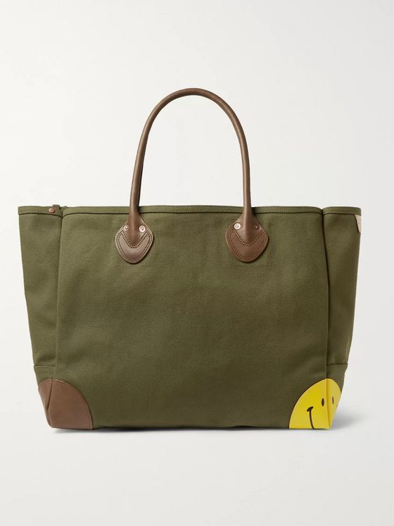 KAPITAL Leather-Trimmed Cotton-Canvas Tote Bag