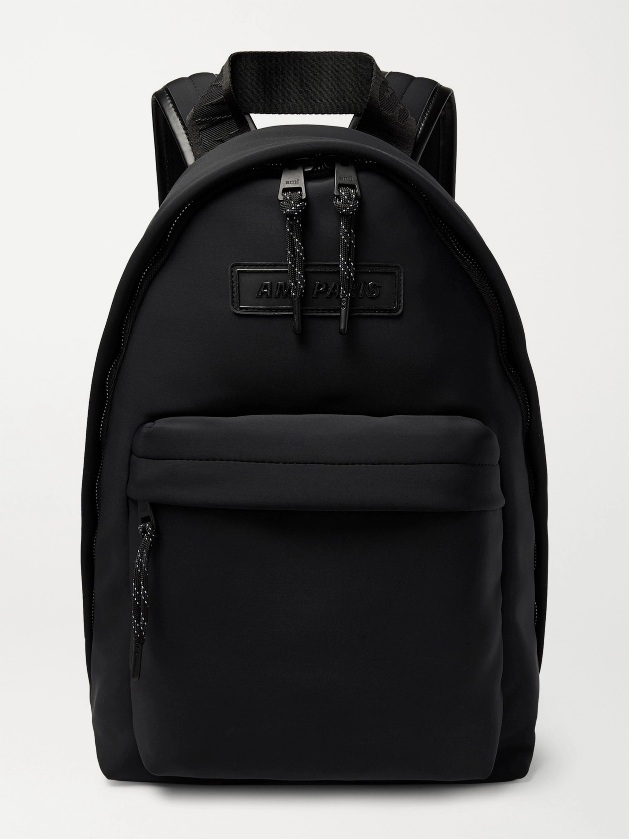 AMI Logo-Appliquéd Leather-Trimmed Neoprene Backpack