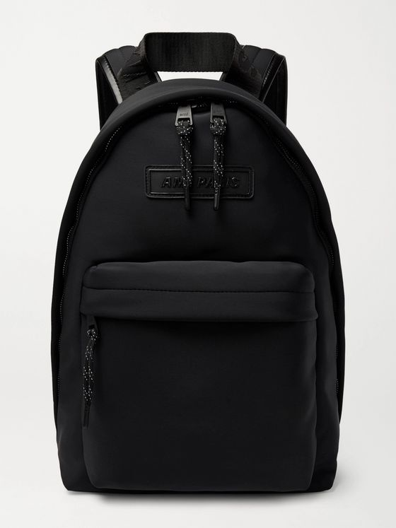AMI PARIS Logo-Appliquéd Leather-Trimmed Neoprene Backpack