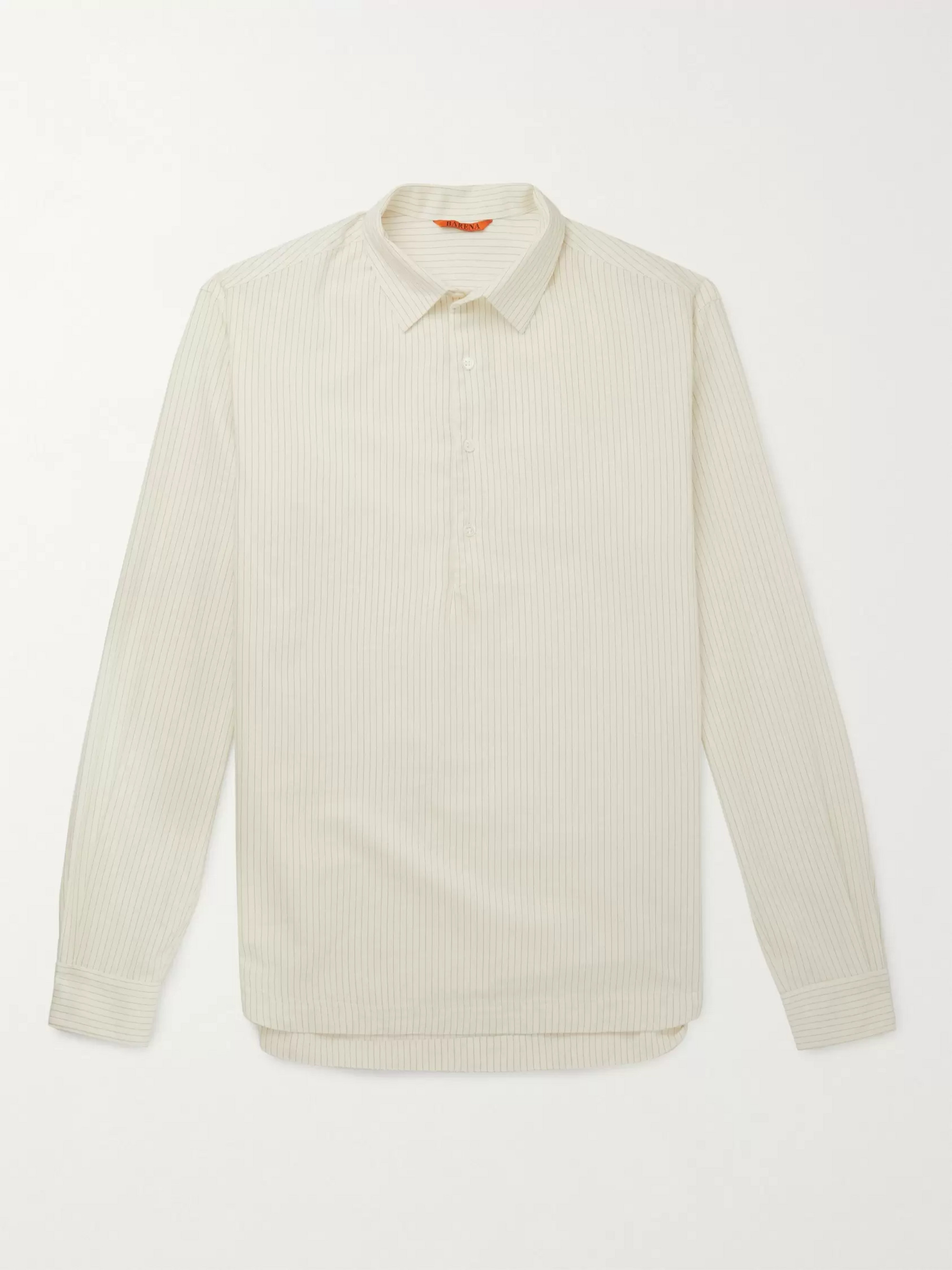 Barena Striped Cotton and Wool-Blend Half-Placket Shirt