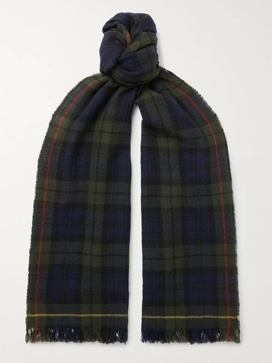 Drake's Checked Merino Wool Scarf
