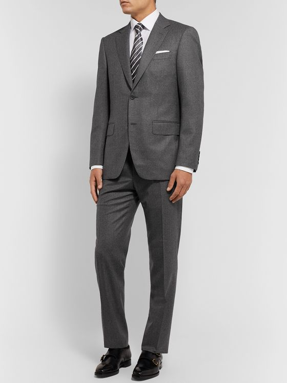 Canali Grey Slim-Fit Puppytooth Super 120s Brushed-Wool Suit Jacket