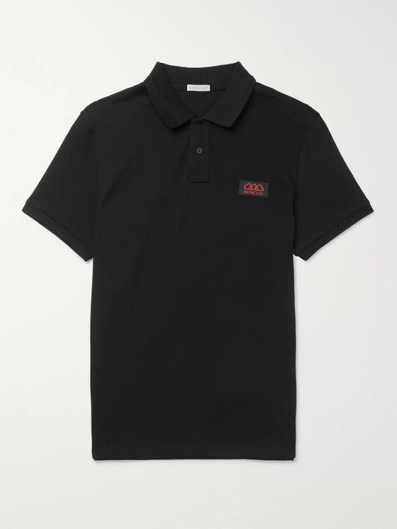 Moncler Slim-Fit Logo-Appliquéd Cotton-Piqué Polo Shirt