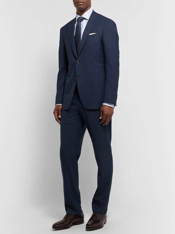 Canali Storm-Blue Kei Wool Suit Trousers