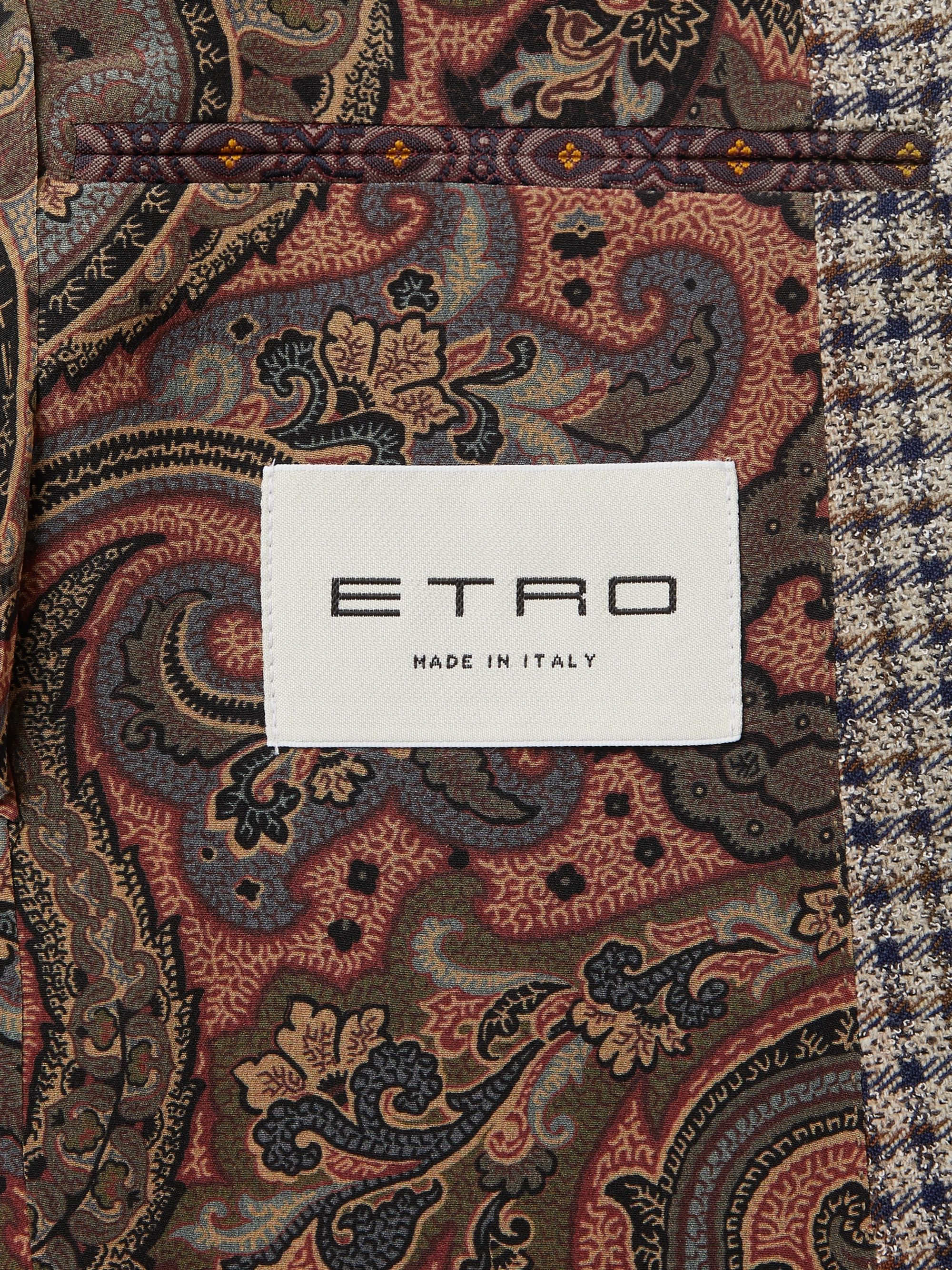 Etro Mushroom Slim-Fit Checked Wool-Blend Blazer