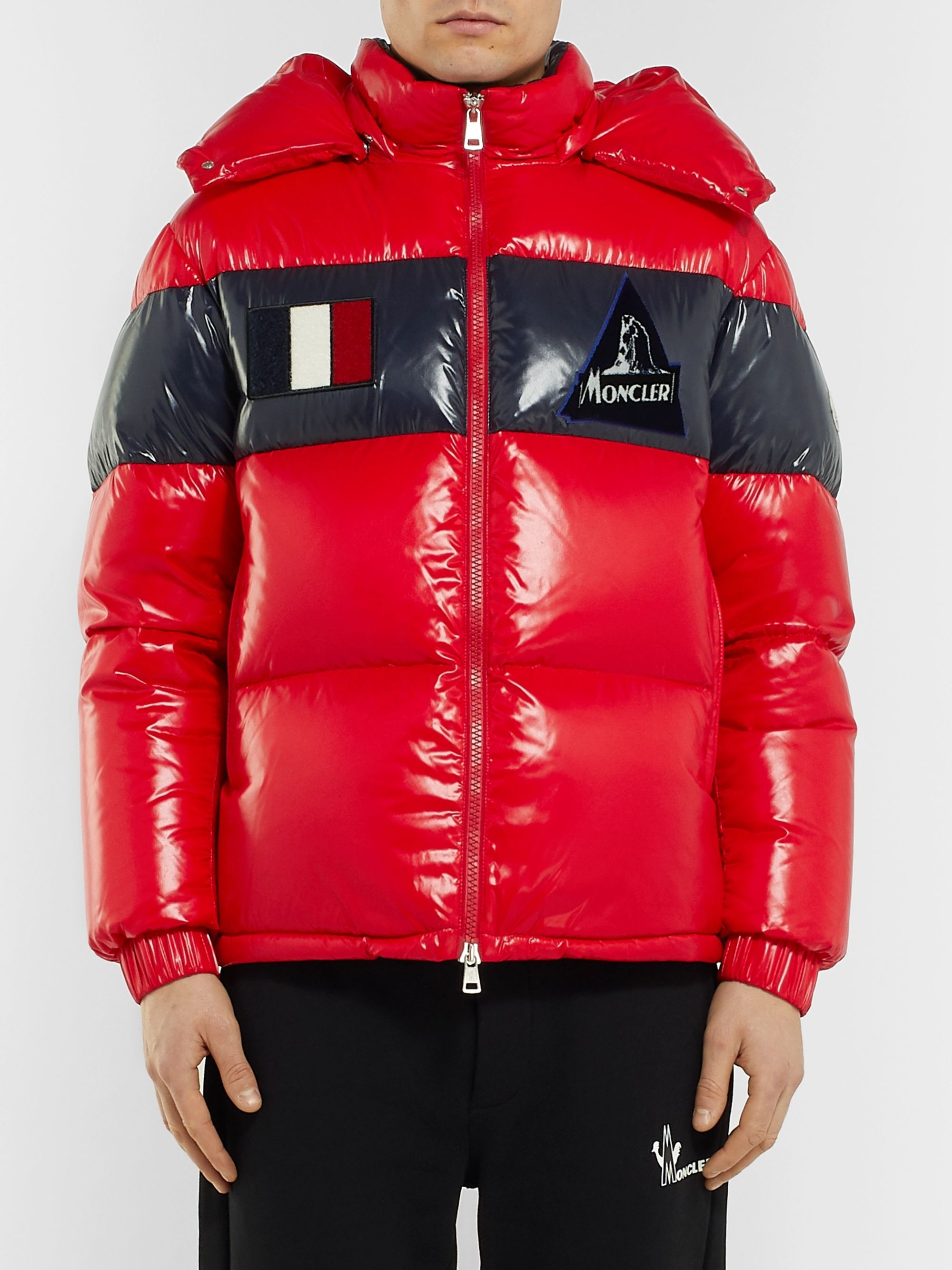 Moncler Slim-Fit Striped Quilted Glossed-Nylon Hooded Down Jacket