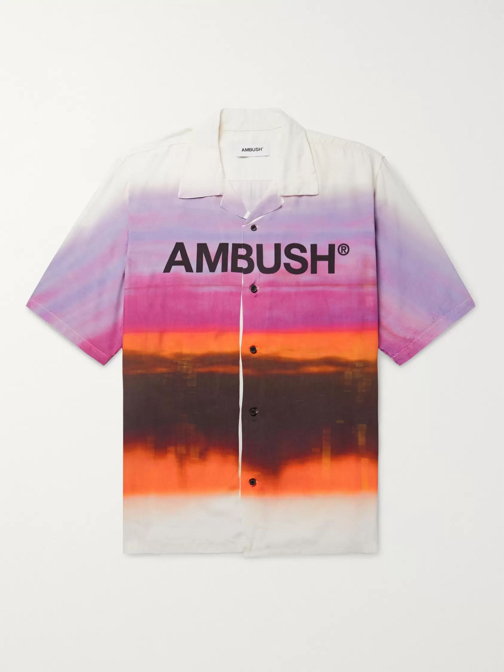 AMBUSH® Camp-Collar Logo-Print Tie-Dyed Woven Shirt